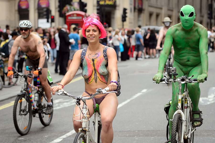 Cyclists take part in the annual World N