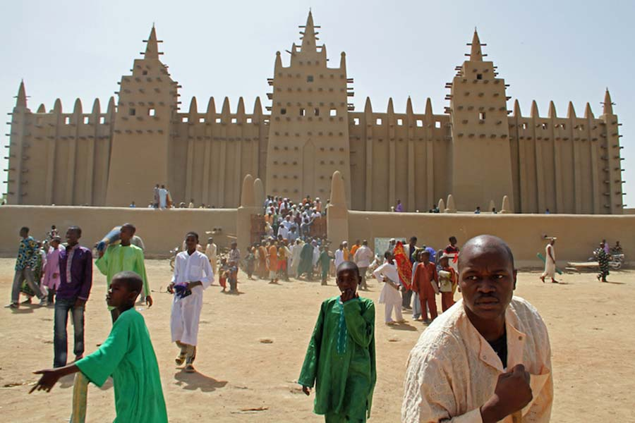 Leaving the mosque after prayers, north Mali