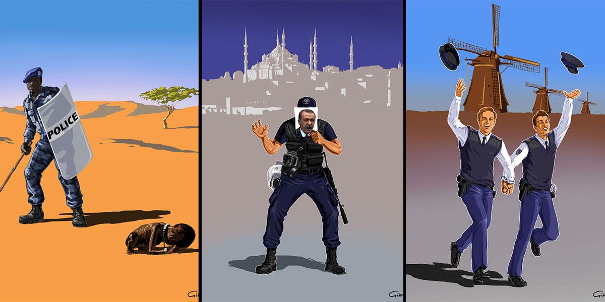 Dünya polislerini ve işlerini nasıl yaptıklarını anlatan iğneleyici illüstrasyonlar