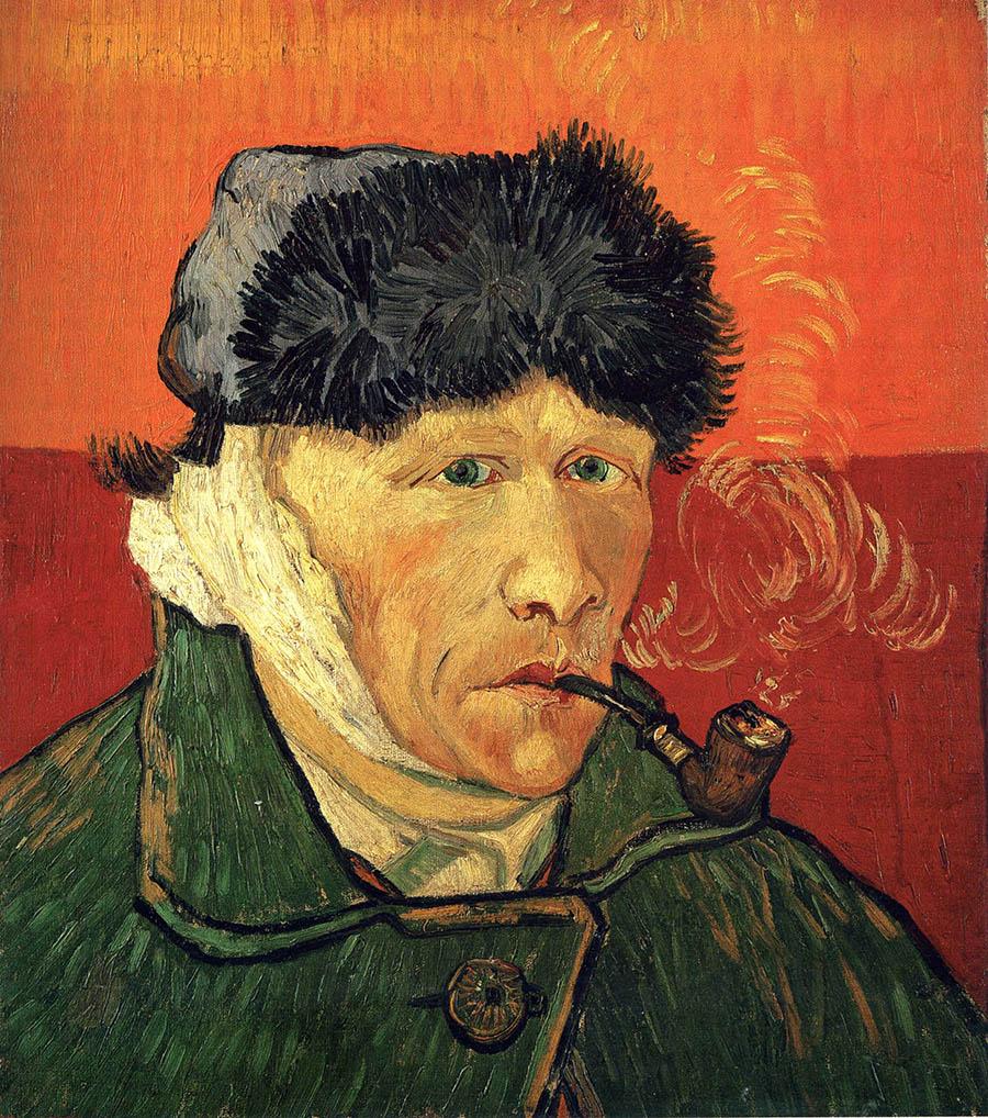 Vincent van Gogh ve bandajlı kulağı ile otoportresi