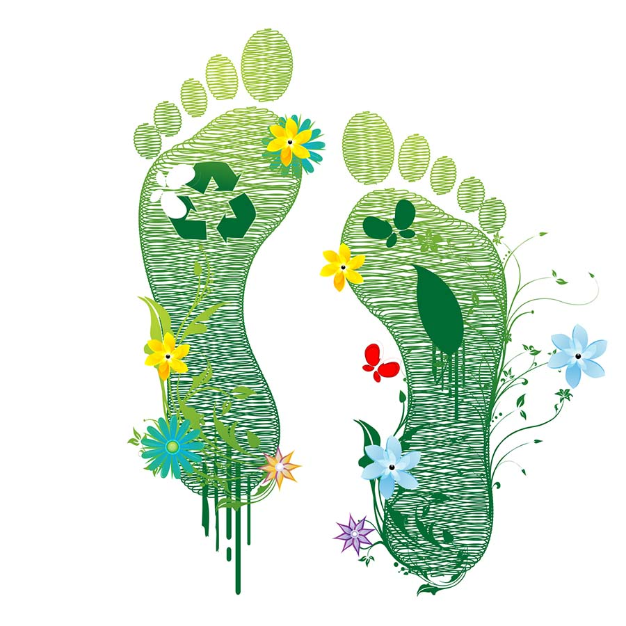 illustration of recycle feet on white background