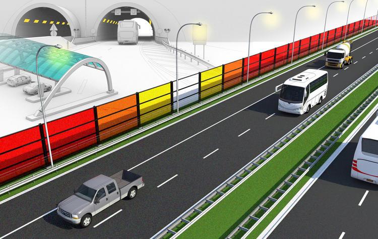 Güneşle elektrik üreten trafik ses bariyerleri (3)