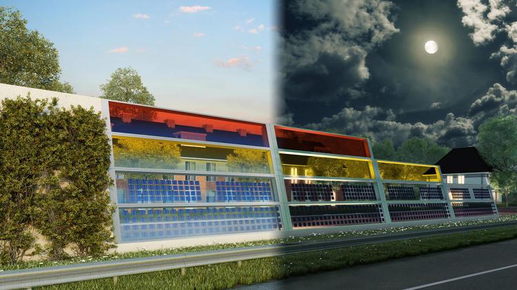 Güneşle elektrik üreten trafik ses bariyerleri (4)