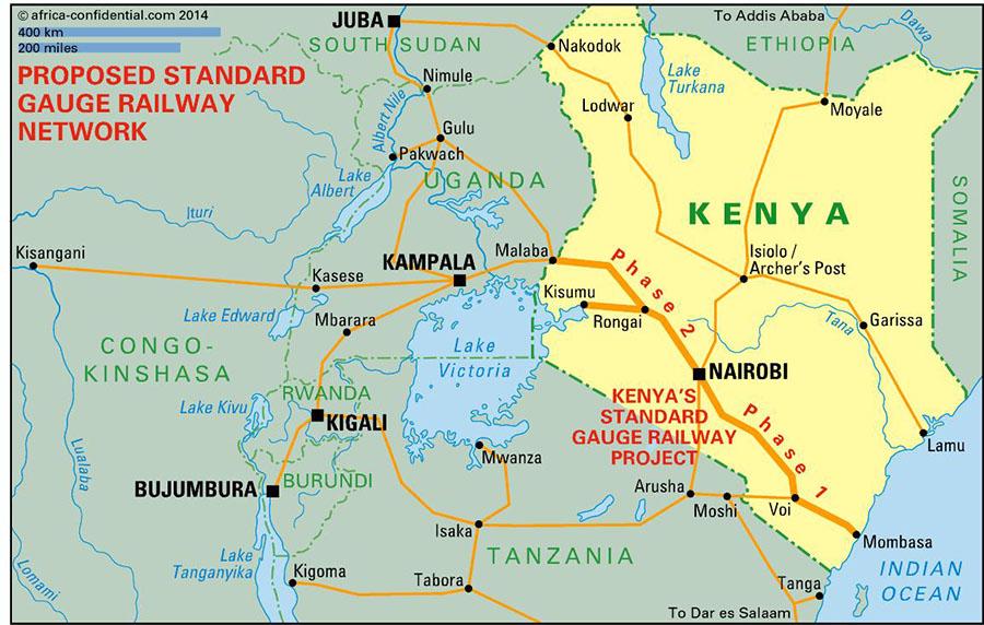 Kenya'da yapılması planlanan demir yolu projesinin böleceği alan haritada gözüktüğü gibi Phase 1 ve Phase 2 diye ikiye bölünmüş.