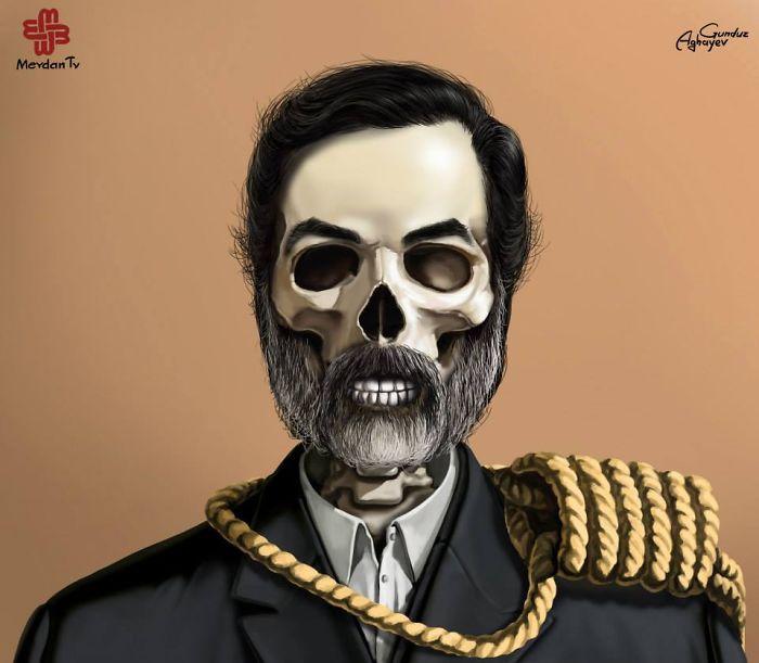 Saddam Hussein (Iraq) dünya liderlerini bir de böyle görün