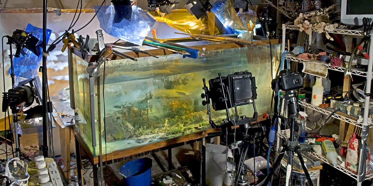 Bu sanatçı görkemli manzaralar yaratmak için su dolu bir akvaryumdan yararlanıyor