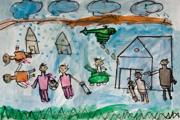 Suriyeli bir çocuğun savaş hakkında çizdiği resim