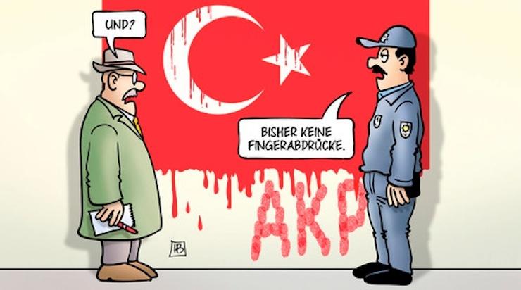 Karikatürdeki polis, parmak izi bulamadıklarını söylüyor...