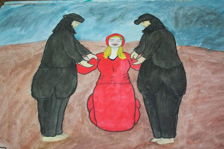 Bu çizimde de bir Ezidi kadını IŞİD militanları tarafından tecavüze uğruyor.
