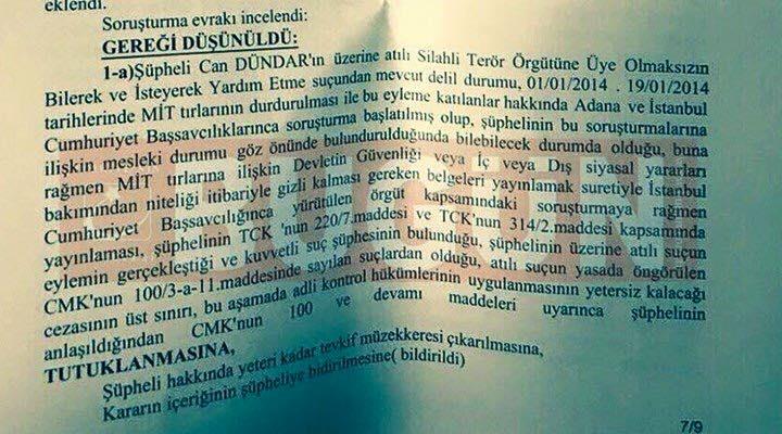 Can Dündar'ın tutuklama kararı