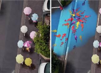 Güney Kore'deki bu sokaklar artık her yağmur yağdığında rengârenk olacak