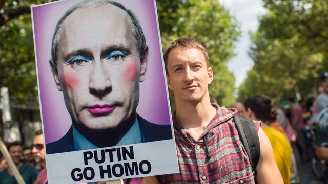 A protester in Berlin, Germany demonstrating against Russian anti-gay law