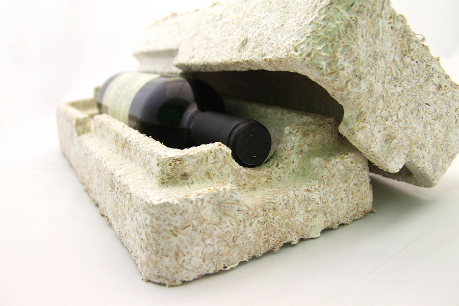 Ecovative's Mushroom® Packaging cradle wine shipper