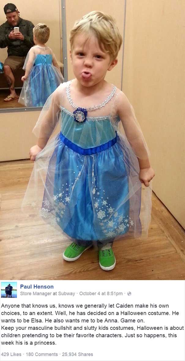 #26 Cadılar Bayramı için 'Prenses Lisa' kostümü seçen oğlan çocuğunu babasının onaylaması