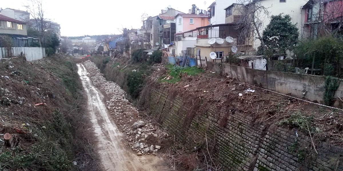 Kadıköy'ün Rasimpaşa mahallesine bağlı olan Yeldeğirmeni'nde yol çalışmalarında onlarca ağaç kesildi.