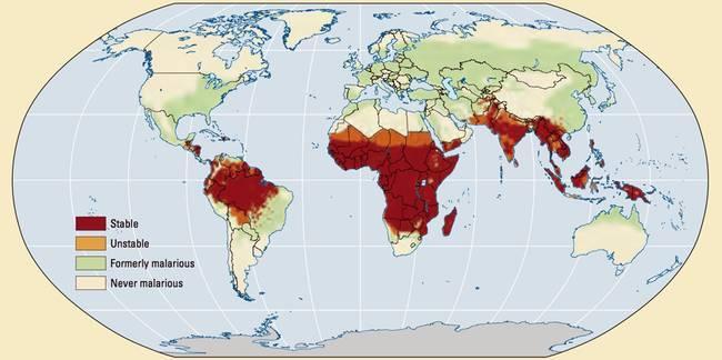 Haritada Dünya'da sıtmanın görüldüğü yerler belirtilmektedir.