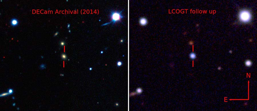 Dark Energy Camera (DECam) ve LCOGT (Las Cumbres Observatory Global Telescope Network) ile çekilen ASASSN-15lh'in patlama anı.