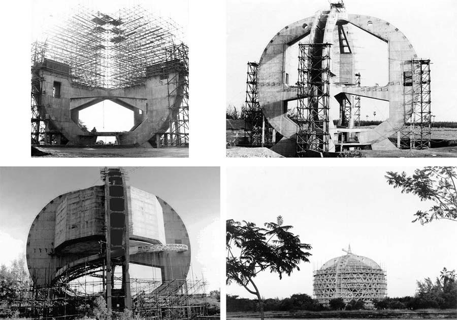 Matrimandir Tapınağının inşaatı