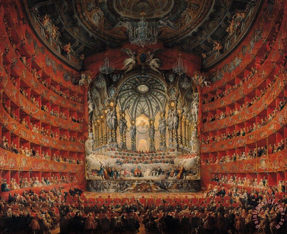 Cardinal De La Rochefoucauld konseri, Argentina Tiyatrosu, Roma. Resim Giovanni Paolo Pannini