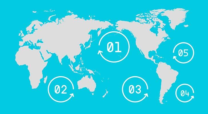 """Büyük Pasifik Çöp Girdabı""""nda plastik çöplerinin bulunduğu yerler numaralandırılmıştır.  Dünyanın altı ülkesinde uygulanan plastik poşet yasağı ve etkileri plastic ban 5"""