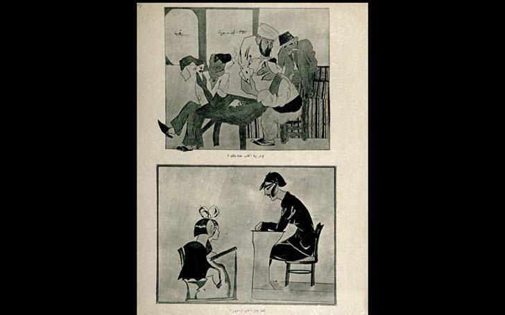 Kadın Yolu dergisinden, oy hakkı için yapılan bir kongre ve cahil olduğu halde erkekler oy kullanırken eğitimli genç kadınların oy kullanamamasını eleştiren bir karikatür.