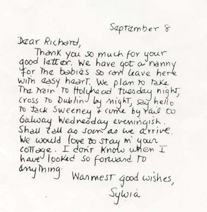 Sylvia Plath'in el yazısı