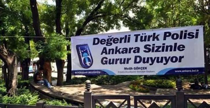 Ankara Güvenpark, Ethem Sarısülük polis tarafından öldürüldükten sonra Büyükşehir Belediye Başkanı İ. Melih Gökçek tarafından astılan pankart.