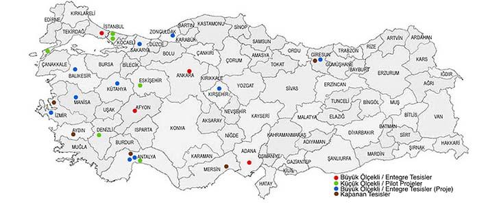 Türkiye'deki faal, kapalı veya planlama aşamasındaki kompost tesisleri.
