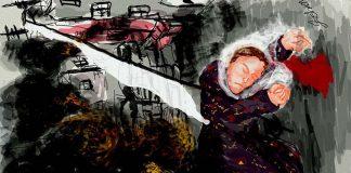 Şırnak'ın Silopi ilçesinde komşusundan dönerken öldürülen ve cenazesi 7 gün boyunca yerde kalan Taybet İnan / Çizim: Zehra Doğan