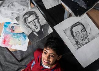 """""""Küçük Picasso"""" olarak anılan Afgan mülteci Fahrad Nouri ilk sergisini açıyor"""