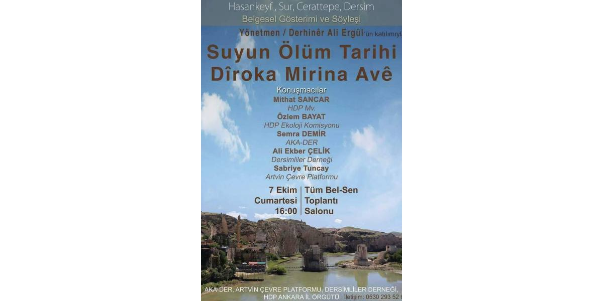 Suyun Ölüm Tarihi belgesel gösterimine davet
